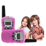 BOOYE Kids Walkie Talkie 22 Channel FRS/GMRS UHF Long Range Two Way Radio (2 Pack of Radios)- Pink