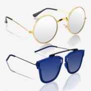 Knotyy Round, Retro Square Sunglasses(Silver, Blue)