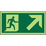 Unbranded Fire Exit Sign Up Right Arrow Vinyl 15 x 30 cm