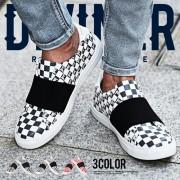 チェッカーフラッグスニーカー メンズカジュアルシューズ【リュリュ】 ベルーナ