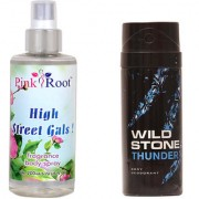 Wild Stone Thunder Body Deodorant 150ml and Pink Root High Street Gals Fragrance body Spray 200ml Pack of 2