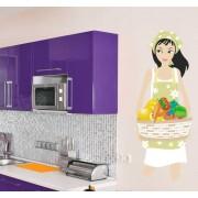 TenStickers Sticker meisje met mand groenten