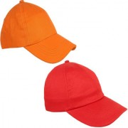 Sunshopping men's solid orange and red pure cotton baseball cap (pack of two)
