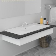 vidaXL Мивка за вграждане, 90,5x46,3x17,5 см, керамична, бяла
