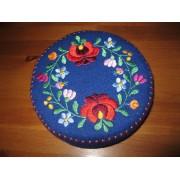 Hand embroidered Matyo Kalocsa trinket, Hungarian jewelry box - blue