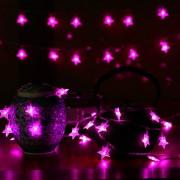 6M Con 40 Lámparas De Cadena De Forma Estrella Para Navidad O Adornar - Rosa