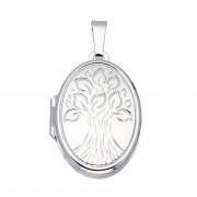 Best Basics 145.0068.00 Zilveren Hanger Medaillon Ovaal 'Tree of life' 17 x 25 mm