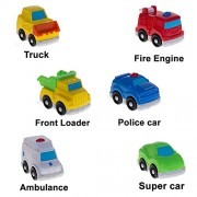 Baybee Unbreakable Vehicle Truck Toy Set | 6 Pieces of Free Wheel Vehicles | Supercar, PoliceCar, Ambulance, FireEngine, Truck, FrontLoader