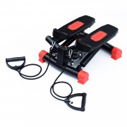 HOMCOM Mini Stepper W/Training Ropes-Black/Red