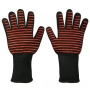A Pair Red Horizontal Stripes Long Kevlar Silica Gel Cotton Microwave Oven Mitts Protection Gloves Heat Insulation Kitchen Cooking Bake BBQ Gloves Protective Glove Length: 32cm