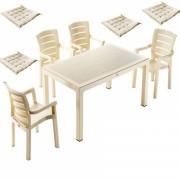 Set gradina masa patrata Wood 90x90x75cm 4 scaune Milano Wood 4 perne scaun, Yarada, B001253-42305-42315, capucino