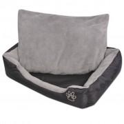 vidaXL Кучешко легло с подплатена възглавница, размер L, черно
