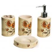 Set 4 accesorii de baie, model floarea soarelui