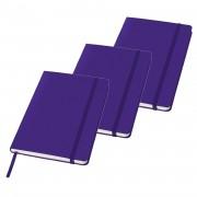 Merkloos 5x stuks luxe schriften A5 formaat met paarse harde kaft