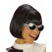 Peluca negra en forma de melena cuadrada para mujer Talla única