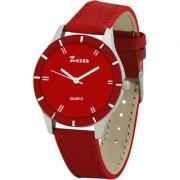 Zesta 17 Analog Watch Women Casual Leather Band Quartz Wrist Watch Girl Fashion Round Dial Adjustable Wristwatch (Red)