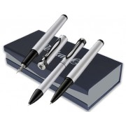 Set Stola III stilou + pix + roller argintiu/negru mat lucios Pelikan