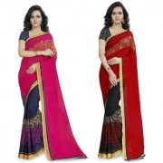 Anand Sarees Faux Georgette Pink_Red And Multi Color Printed Combo Saree With Blouse Piece ( 1190_1_1190_3 )