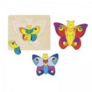 Многослоен дървен пъзел Цветна Пеперуда Goki, 871092