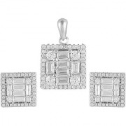 92.5 Sterling Silver Cubic Zirconia Studded Get Framed Square Pendant Earrings Set for Women and Girls