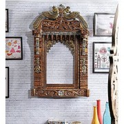 Shilpi Brown Solid Wood Beauteous Jharokha/Traditional Rajasthani Style Hand-Carved Wooden Jharokha Wall Decor