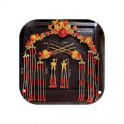 pursuit-of-self Peineta de borla con diseño oriental rojo para tocado de boda, accesorio para el pelo, Color