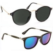 Elgator Cat-eye, Wayfarer Sunglasses(Black, Green)