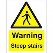 Unbranded Warning Sign Steep Stairs Vinyl 20 x 15 cm