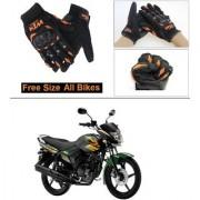 AutoStark Gloves KTM Bike Riding Gloves Orange and Black Riding Gloves Free Size For Yamaha Fazer FI V 2.0