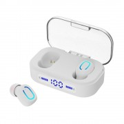 TWS Bluetooth 5.0 Mini In-ear Earphone with LED Digital Display Charging Box - White