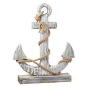 Decoris Houten anker beeld wit 40 cm maritieme decoratie