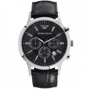 Armani orologi in pelle nera Mens Chronograph Watch Ar2447
