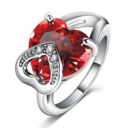 Platinum Plated Stone Studded Red Heart Ring Buy Designer Imitation Jewellery online