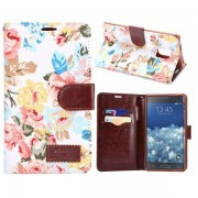 Samsung Galaxy Note Edge - Flip hoes, cover, case - PU leder - TPU - stof - Flowers