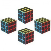 Emob Pack of 4 Carbon Fiber Stickers 3x3 Neon Colors High Speed Magic Rubik Cube Puzzle Toy (4 Pieces)
