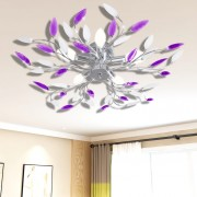 vidaXL Полилей с лилави листа от акрилен кристал, с 5 х Е14 ел. крушки