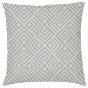 Geometric Chevron Print Cushion - Grey - Textured Linen - Grey