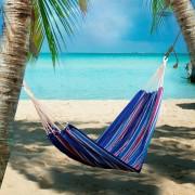 Outsunny Hamaca Colgar 210 x 150 cm Playa Piscina Jardin Camping 70% Algodon Azul