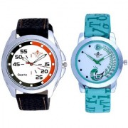 Round Dial Orange Black With Lite Green Peacock Feathers Couple Casual Analogue SCK Wrist Watch