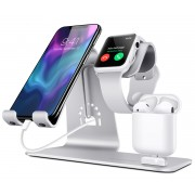 BESTAND 3-in-1 Apple iWatch Stand + Airpods Charger Dock + Phone Desktop Tablet Holder - Silver