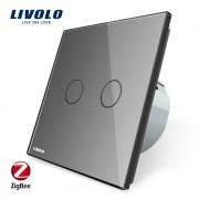 Intrerupator dublu cu touch Livolo din sticla - protocol ZigBee, Control de pe telefonul mobil, gri