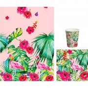 Duni Hawaii thema tafeldecoratie set bekers/servetten/tafelkleed