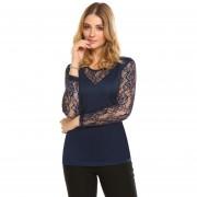 Mujeres Moda O Cuello Manga Larga De Encaje Patchwork T Shirt -Azul