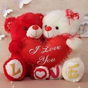 Cute Couple Love Teddy Bears holding I Love You Heart