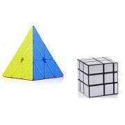 Babytintin High Speed Stickerless Pyraminx + Mirror Magic Silver Colors Magic Rubik Cube Puzzle Smooth Magic Rubik's Cube 3D - Brain Teaser Puzzles Recommended for 3 - 99 Years Combo Set of 2 (Stickerless Pyraminx + Mirror Magic Silver)