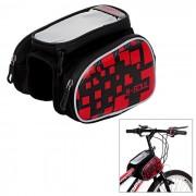 """B-SOUL Bike Tube Saddle Bag w / pantalla tactil para telefono de 5.5"""" - rojo"""
