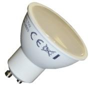 LED lámpa , égő , szpot , GU10 foglalat , matt előlappal , 110° , 7 Watt , meleg fehér