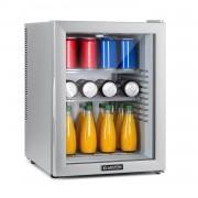 Klarstein Brooklyn 42 Silver, мини хладилник, енергиен клас А, стъклена врата, LED, рафтове, сребърен (HEA-Brooklyn-50Slb)