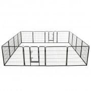 vidaXL Țarc pentru câini, 16 panouri, oțel, 80 x 80 cm, negru