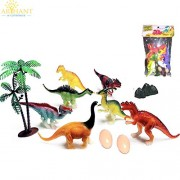 "Arihant Ecommerce Pack of Dino 6 Pcs 6"" Dinosaur with 2 Egg & Tree Model Toy ( 10 Pcs. Pack ) Animals Plastic Toys for Kids"